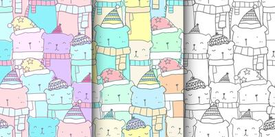 Set of pattern seamless with hand drawn cute bear family in pastel color. Kawaii bear background for kid fabric pattern, baby wallpaper, nursery, wrapping paper, scrapbook and packaging design