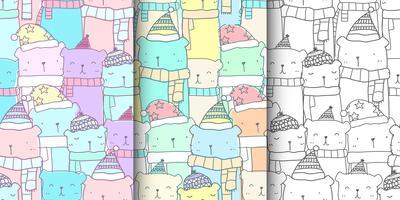 Conjunto de padrão sem emenda com a família de urso bonito mão desenhada em cor pastel. Fundo de urso Kawaii para padrão de tecido de criança, bebê papel de parede, berçário, papel de embrulho, design de scrapbook e embalagem