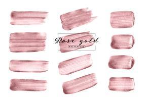 Escova de ouro rosa mão desenhada conjunto isolado no fundo branco