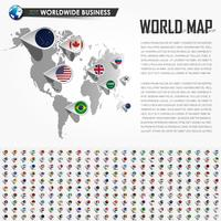 Perspective world map and GPS navigator location pin with all national country flag elements of the earth . Vector .