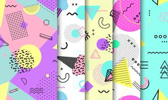 Memphis naadloze patroonverzameling. Geometrisch naadloos patroon verschillende vormen mode 80's-90's stijl. Set van pastel Memphis achtergrond. Abstracte vectorillustratie in minimaal ontwerp.