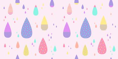 Rain drop pattern seamless pastel color. Abstract water drop for kid fabric print, wallpaper, wrapping paper, textile, baby background, banner and card design.