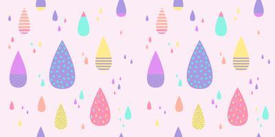Regndroppsmönster sömlös pastellfärg. Abstrakt vattendroppe för barnvävstryck, tapeter, papper, textil, baby bakgrund, banderoll och kortdesign.