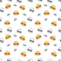 Sömlös mönster med burger på en vit bakgrund. Vektor upprepande textur.