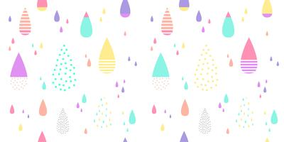 Cute raining pattern seamless colorful. Abstract water drop for kid fabric print, wallpaper, wrapping paper, textile, baby background, banner and card design.