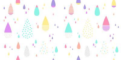 Söt regnmönster sömlöst färgstarkt. Abstrakt vattendroppe för barnvävstryck, tapeter, papper, textil, baby bakgrund, banderoll och kortdesign.