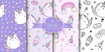 Set of cute hand drawn unicorn seamless pattern. Horizontal kawaii unicorn background for kid. Baby pattern collection.