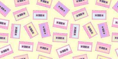 Bandkassettmönster sömlöst i pastellfärg. Söt färgstark tapete bakgrund för tygutskrift, tapeter, textil, inslagspapper, partyaffisch banner och kortdesign.
