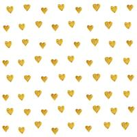 Golden heart pattern seamless isolated on white background created by vector. Gold heart glitter retro style for wallpaper, fabric prints, scrapbook, textile and web banner background.