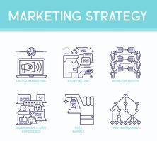 Icone dell'illustrazione di strategia di marketing