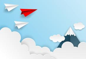 Business  leadership ,financial concept. Red paper plane leadership  to sky go to success goal. paper art style. creative idea. vector .