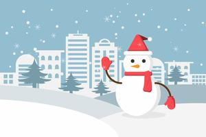 Hiver neige et bonhomme de neige dans la campagne urbaine avec village de la ville. Bonne année et joyeux Noël.