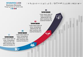 Infographik Business Timeline Prozess Chart Vorlage. Marketing-Symbole können für Workflow-Layout, Bericht,. Geschäftskonzept mit 4 Optionen, Schritten oder Prozessen. Vektor