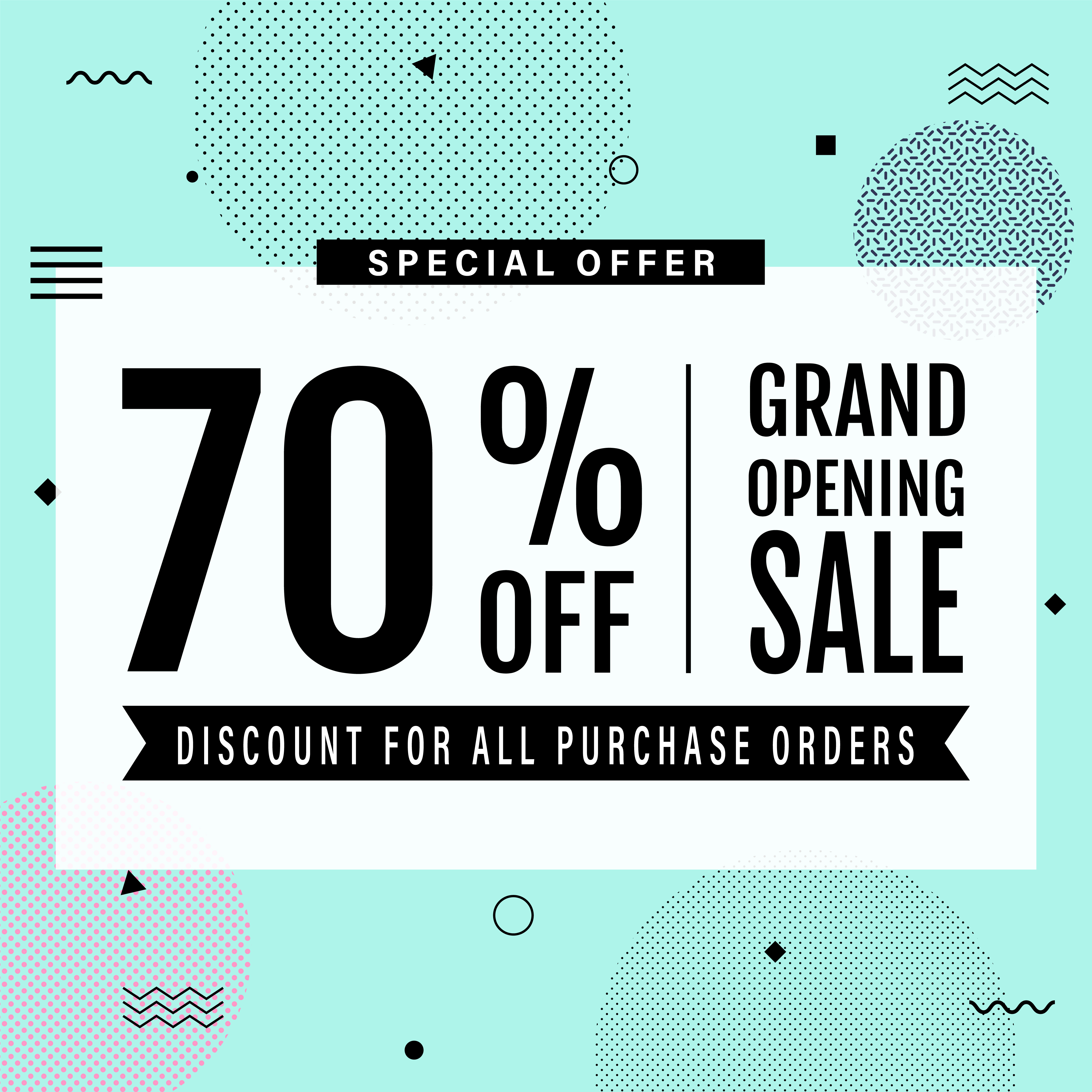Promotion grand opening banner design template  Memphis sale