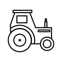 icono de linea de tractor negro