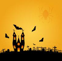 Halloween background with flying bat on  and the full moon. Vector illustration. Happy Halloween Poster.