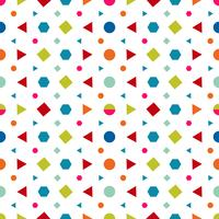 Seamless mönster med cirklar, kvadrat, triangel och hexagon av färska färger på en vit bakgrund. Vektor illustrationer repeterande textur.
