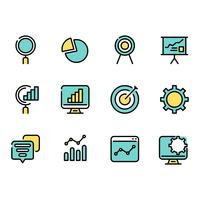 Simple set of outline Business data information thin icons for web.