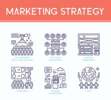 Iconos de ilustración de estrategia de marketing