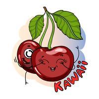 Cerezas deliciosas fruta kawaii carácter. Linda ilustración vectorial