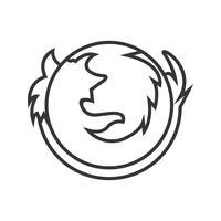 Logotipo do Firefox linha ícone preto