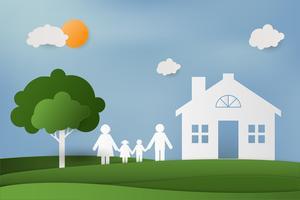 Familia con niños en la casa. Pareja de pie fuera de casa nueva. Arte de papel y estilo artesanal.