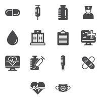 Conjunto de iconos médicos y sanitarios.