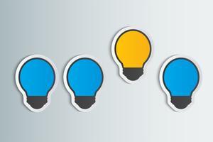 Concepten van verschillend creatief idee, één