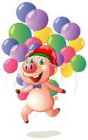 Weihnachtsmotiv mit Schwein und Luftballons