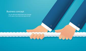 businessmen pull the rope business concept. tug of war background