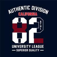Typographie californienne de sport sportif, graphiques de t-shirt