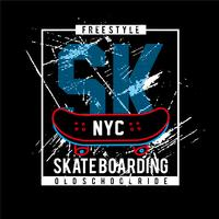 tabla de skate sk-typography-design-tshirt vector