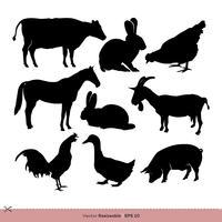 Granja de animales silueta conjunto Vector Logo plantilla ilustración diseño