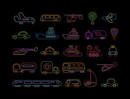 Icônes vectorielles de transport néon
