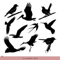 Silhouette d'oiseau Set Vector Template Illustration Design