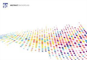 Perspectiva de semitono colorida abstracta del modelo de puntos de la onda de la textura aislada en el fondo blanco.