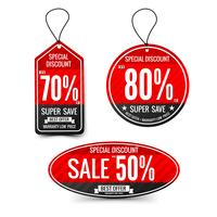 Sale text on red tag banner set 004