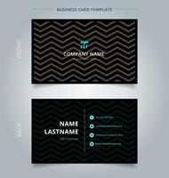Creative business card and name card template, chevron pattern on black color background and texture.