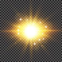 Lighting effect sparkling sun rays burst with splinter flare on transparent background.