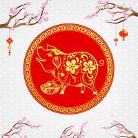 Kinesisk samtida modern konst röd och gyllene linje leende gris 002