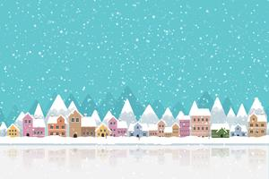 Winter town flat style with snow falling and mountain 002