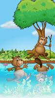 Three beavers playing at the river
