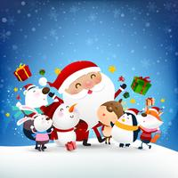 Christmas Snowman Santa claus and animal cartoon smile with snow falling background 002