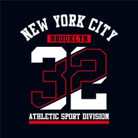 Atletisk Brooklyn New York City typografi design för tshirt print