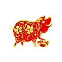 Kinesisk samtida modern konst röd och gyllene linje leende gris 001