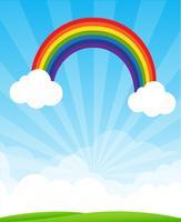 Sunburst y fondo azul del cielo y del arco iris con el ejemplo del vector del copyspace