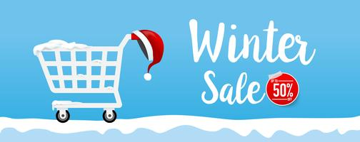 Winter sale calligraphy text with shpping cart and santa hat 001 vector