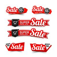 Sale text on red tag banner set 003