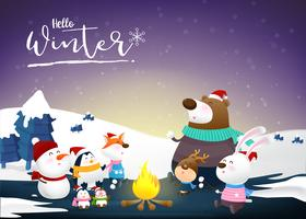 Hello winter with animal cartoon and night snow 002 vector