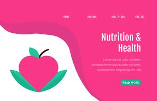 Landing Page About Healthy Food With Apple And Leaves